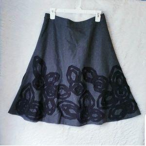 Biden Wool Black Gray Floral Leaf Skirt